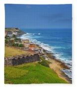 Old San Juan Coastline Fleece Blanket