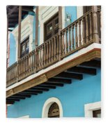 Old San Juan Houses In Historic Street In Puerto Rico Fleece Blanket