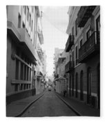 Old San Juan Puerto Rico Downtown On The Street Fleece Blanket