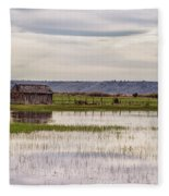 Old Shed On Marsh Fleece Blanket