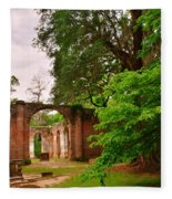 Old Sheldon Church Ruins 3 Fleece Blanket