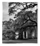 Old Sheldon Church Ruins Black And White 3 Fleece Blanket