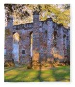 Old Sheldon Church Ruins Fleece Blanket