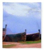 Old Sicilian Fishing Boats Fleece Blanket