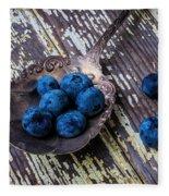 Old Spoon And Blueberries Fleece Blanket