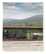 Old Steam Locomotive On Railway Station Fleece Blanket