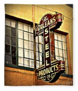 Old Steel Neon Sign Fleece Blanket