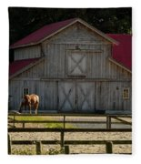 Old-style Horse Barn Fleece Blanket