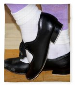 Old Tap Dance Shoes With White Socks And Wooden Floor Fleece Blanket