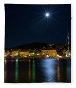 Old Town At Night Fleece Blanket