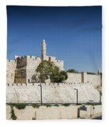 Old Town Citadel Walls Of Jerusalem Israel Fleece Blanket