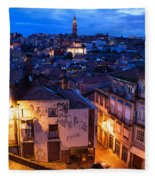 Old Town Of Porto In Portugal At Dusk Fleece Blanket