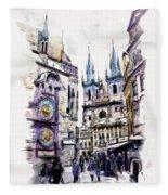 Old Town Square In Prague Fleece Blanket