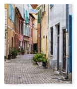 Old Town Street In Villefranche-sur-mer Fleece Blanket
