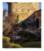 Old Town Walls Toledo Spain Fleece Blanket