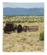 Old Tractor And Rake In New Mexico Fleece Blanket