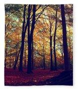 Old Tree Silhouette In Fall Woods Fleece Blanket