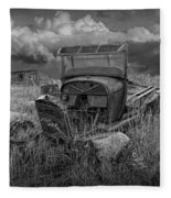 Old Truck Abandoned In The Grass In Black And White At The Ghost Town By Okaton South Dakota Fleece Blanket