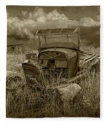 Old Truck Abandoned In The Grass In Sepia Tone Fleece Blanket