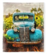 Old Truck At The Winery Fleece Blanket