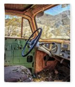 Old Truck Interior Nevada Desert Fleece Blanket by Edward Fielding