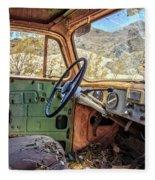 Old Truck Interior Nevada Desert Fleece Blanket