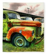 Old Trucks In A Row Fleece Blanket