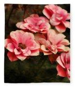 Old Victorian Fuchsia Pink Rose Fleece Blanket