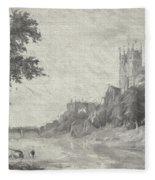 Old View Of Durham Cathedral Fleece Blanket