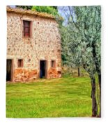 Old Villa And Olive Trees Fleece Blanket