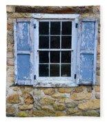 Old Village Window With Blue Shutters Fleece Blanket