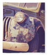 Old Vintage Pickup Truck Utah Square Fleece Blanket