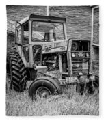 Old Vintage Tractor On A Farm In New Hampshire Square Fleece Blanket