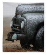 Old Vintage Truck In Winter Storm Saskatchewan Fleece Blanket
