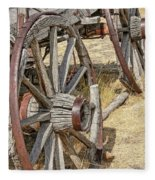 Old Wagon Wheels From Montana Fleece Blanket