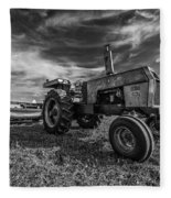Old White Tractor In The Field Fleece Blanket