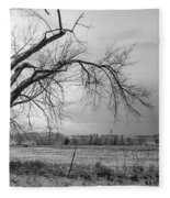 Old Winter Tree Grayscale Fleece Blanket