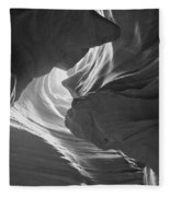 Old Woman In The Canyon Black And White Fleece Blanket