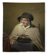 Old Woman Reading, Cornelis Kruseman, 1820 - 1833 Fleece Blanket