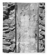 Old Wood Door  And Stone - Vertical Bw Fleece Blanket