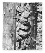 Old Wood Door Window And Stone In Black And White Fleece Blanket