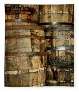 Old Wood Whiskey Barrels Fleece Blanket