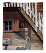 Old Wooden Cabin Log Detail Fleece Blanket