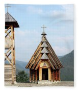 Old Wooden Church And Bell Tower Fleece Blanket