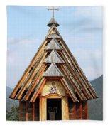 Old Wooden Church On Mountain Fleece Blanket