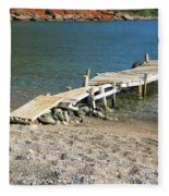 Old Wooden Dock Fleece Blanket