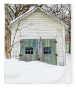 Old Wooden Garage In The Snow Woodstock Vermont Fleece Blanket