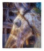Old Wooden Horse Head Fleece Blanket