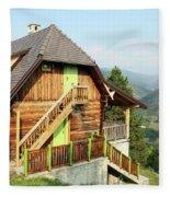 Old Wooden House On Mountain Landscape Fleece Blanket