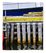 Old Wooden Pier In Newfoundland Fleece Blanket